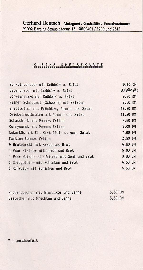 alte Speisekarte 1990-2002